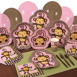 Party Supplies Monkey Girl Baby Shower or Birthday Party