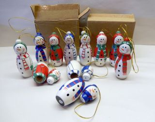 Lot of 23 Wooden Snowmen Christmas Ornaments Trinket Box Party Snowman Favors