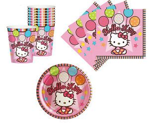 Hello Kitty Birthday Party Supplies Plates Napkins Cups Set for 8 or 16
