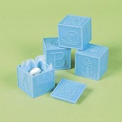 Lot of 12 Blue Block Favors Baby Shower Party Supplies