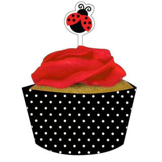 Ladybug Fancy Cupcake Wrappers w Toppers 1st Birthday Party Baby Shower