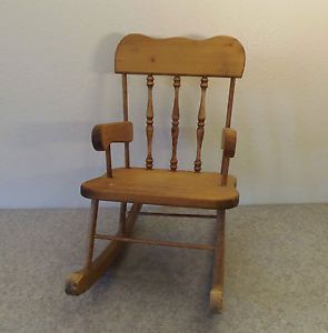 Wood Wooden Toy Bear Baby Doll Rocking Chair Furniture Craft Tinker Estate Find