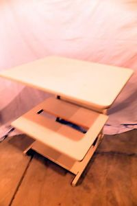 Used Heavy Duty Double Printer Stand Table Shelf Wood Laminate Paper Slotted