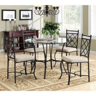 Black Contemporary Glass Top Table Dining Set Furniture Metal Kitchen w 4 Chairs