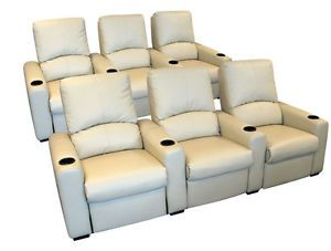 Eros Home Theater Seating 6 Cream Seats Push Back Recliner Chairs