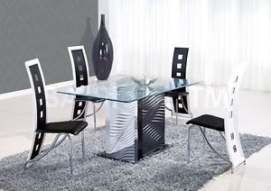 5 Pcs Modern Black White Glass Top Dining Room Table Chairs Set GBD1021DT