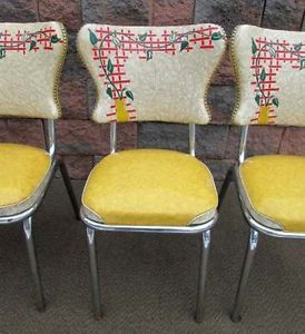Vintage Spartan Mid Century Modern Chrome Sunshine Yellow Retro 4 Kitchen Chairs