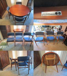 Danish Mid Century Modern Dining Table Chairs Set Erik Buck Oddense
