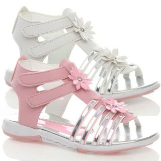 Girls Kids Baby Toddler Flat Gladiator Zip Pink White Party Sandals Shoes Size