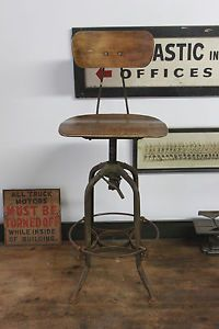 Vintage Industrial Toledo Uhl Draftsman Stool Machine Age Chair Walnut Antique
