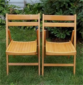 Vintage Pair Solid Oak Wooden Folding Patio Chairs Heavy Duty Church Garden