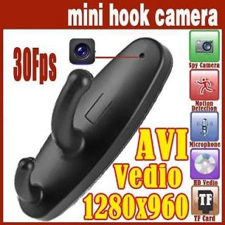 HD 1280x960 Clothes Hook Camera Mini DVR Cam Video Motion Detection w 8GB Memory