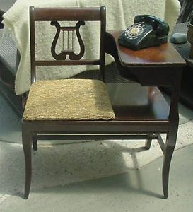 Harp Chair Art Deco Gossip Table Telephone Bench Phone Mahogany Stand Ethen Alan