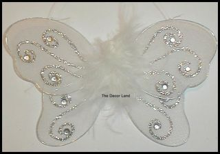 "5"" White Wedding Bridal Shower Marabou Butterfly Wall Hanging Nursery Decor"