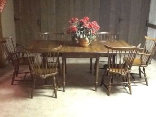 Vintage Pennsylvania House Early American Dining Table with 6 Windsor Chairs