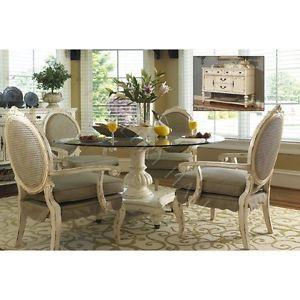 Priscilla Distressed Antique White Round Dining Table Chairs