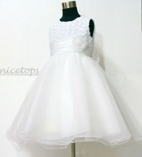 As 4 W810 Baby Girl Whites Wedding Party Bridesmaid Flower Girls Dress Size 4 5T