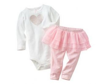 Carters Baby Girl Clothes 2 Piece Set Pink Heart Tutu 3 6 9 12 18 24 Months