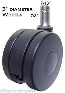"Heavy Duty Casters Wheels Office Chairs 5 PC Set 3"" Dia"