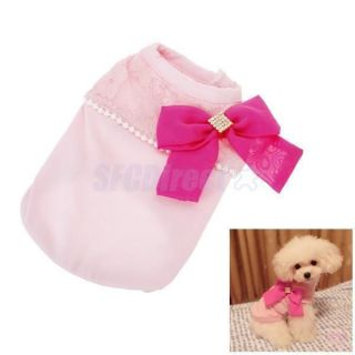 5X Pet Dog Puppy Party Shirt Clothes Clothing Apparel w Shocking Pink Bowknot M