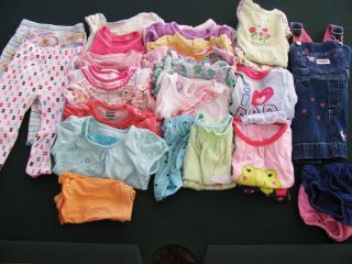Huge 28 Piece Baby Girl Clothes Lot 12 MO OshKosh Jumping Bean Carter More
