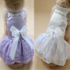 New Elegant Pet Dog Puppy Princess Wedding Party Dress Clothes Apparel PD125