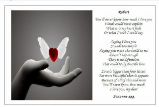 ♥ Personalised Love Poem Gift ♥ A Gift for My Lover Wife Husband Boyfriend ♥