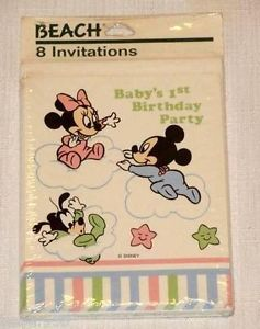 Disney Mickey Minnie Mouse 1st Birthday 8 Party Invitations Party Supplies