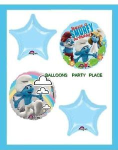 Happy Birthday Smurfs Balloons 4 Set Blue Decorations Party Supplies