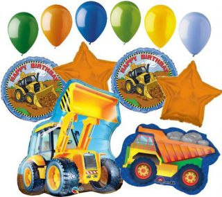 12 PC Construction Balloon Bouquet Decoration Happy Birthday Tractor Dump Truck