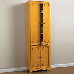 Yellow Double Tall Home Kitchen Pantry Cabinet Cupboard Decor Furniture Storage