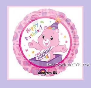 "18"" Happy Birthday Care Bears Balloon Surprise Party Supplies Decorations Pink"