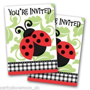 8 Lovely Ladybugs Birthday Baby Shower Party Invitations Plus Envelopes