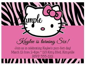 20 Personalized Custom Hello Kitty Zebra Baby Birthday Party Invitations