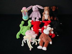 Lot of 10 Ty Beanie Babies Retired Original Plush Baby Toys