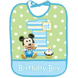 Disney Mickey Mouse 1st Birthday Bib Baby Boy Party Supplies Favors