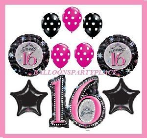 Sweet Sixteen 16 Hot Pink Black Polka Dot Balloons Birthday Party Supplies