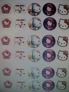 Hello Kitty Edible Image Sheet Cake Cupcake Toppers Birthday Party 30 Ct