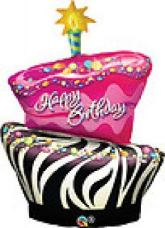 "Funky Zebra Happy Birthday Cake 41"" Huge Shaped 1 Foil Mylar Balloon"