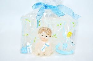 Boy Baby Shower Birthday Candle Cake Topper Blue Party Supply White Boy 3 5x2 5