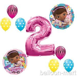 2nd Birthday Doc McStuffins Balloons Girls Party Supplies Hot Pink Zebra Second