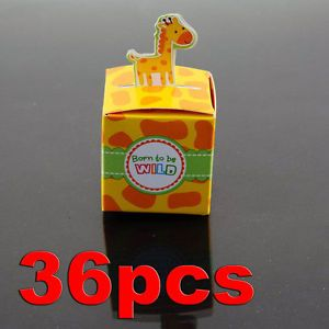 36pcs Giraffe Born to Be Wild Jungle Baby Shower Favor Boxes Party Decorations