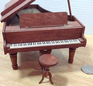 Doll House Furniture Wood Grand Piano Stool Living Room Parlor Miniature Vtg