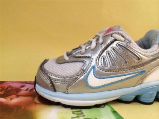 Nike Baby Shox Qualify Toddler Girls Shoes 6C White Met Silver Soft Blue Pink