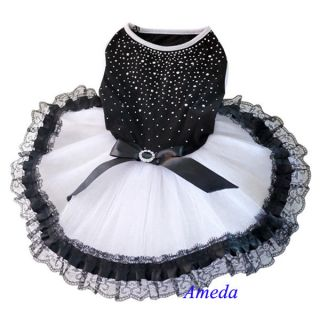 Black White Lace Bling Bling Princess Party Dress Pet Small Dog Clothes XS s M L