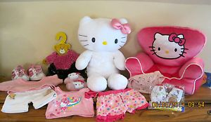 "Build A BEAR18""White Hello Kitty Pink Hello Kitty PJ New Clothes Shoes NWT Chair"