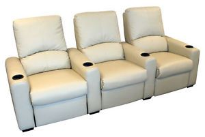 Eros Home Theater Seating 3 Cream Seats Push Back Recliner Chairs