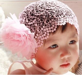 Baby Girl Toddler Grid Pink Flower Headband Headwear Hair Band Princess Gifts