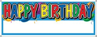 Happy Birthday Sign Banner Customize Personalize Fill in Name Party Decoration