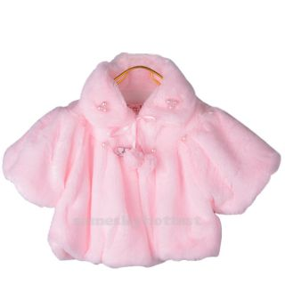 Pink Faux Fur Cape Wrap Jacket Coat Shrug Girls Baby Party 3T FreeShip Worldwide